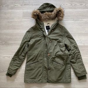 Army Green Lined Hooded Jacket
